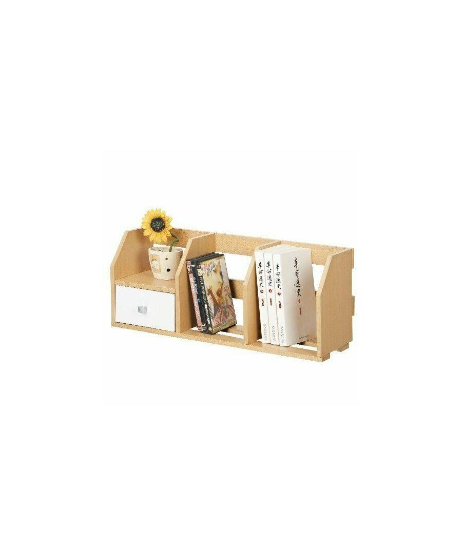 Image for Furinno Pasir 12247SBE/WH Desk Storage Shelf w/Bin, Steam Beech/White