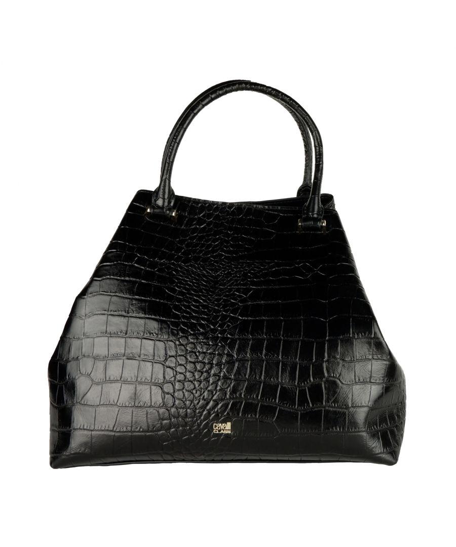 Image for Cavalli Class Black Crocodile Print Handbag
