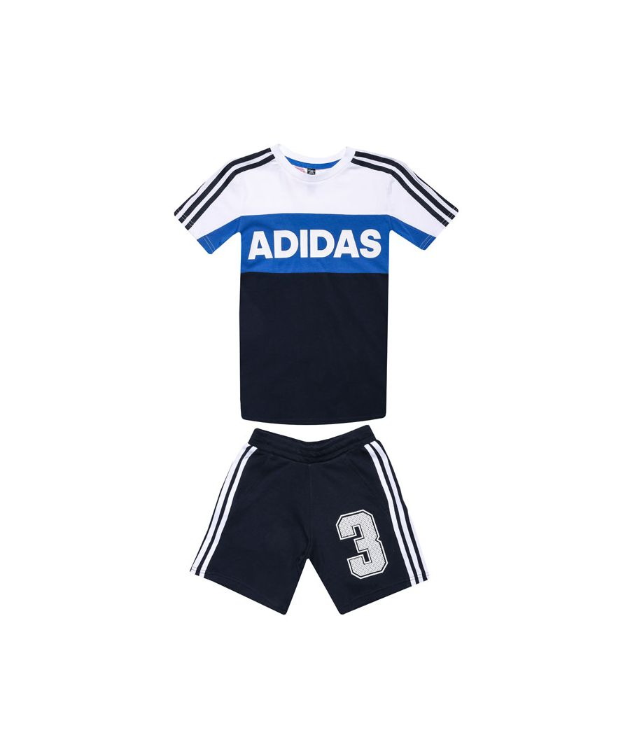 Image for Boys' adidas Infant Graphic T-Shirt and Shorts Set White Navy