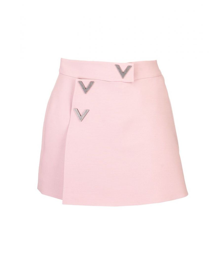 Image for VALENTINO WOMEN'S TB3RA4E01CFS86 PINK WOOL SKIRT
