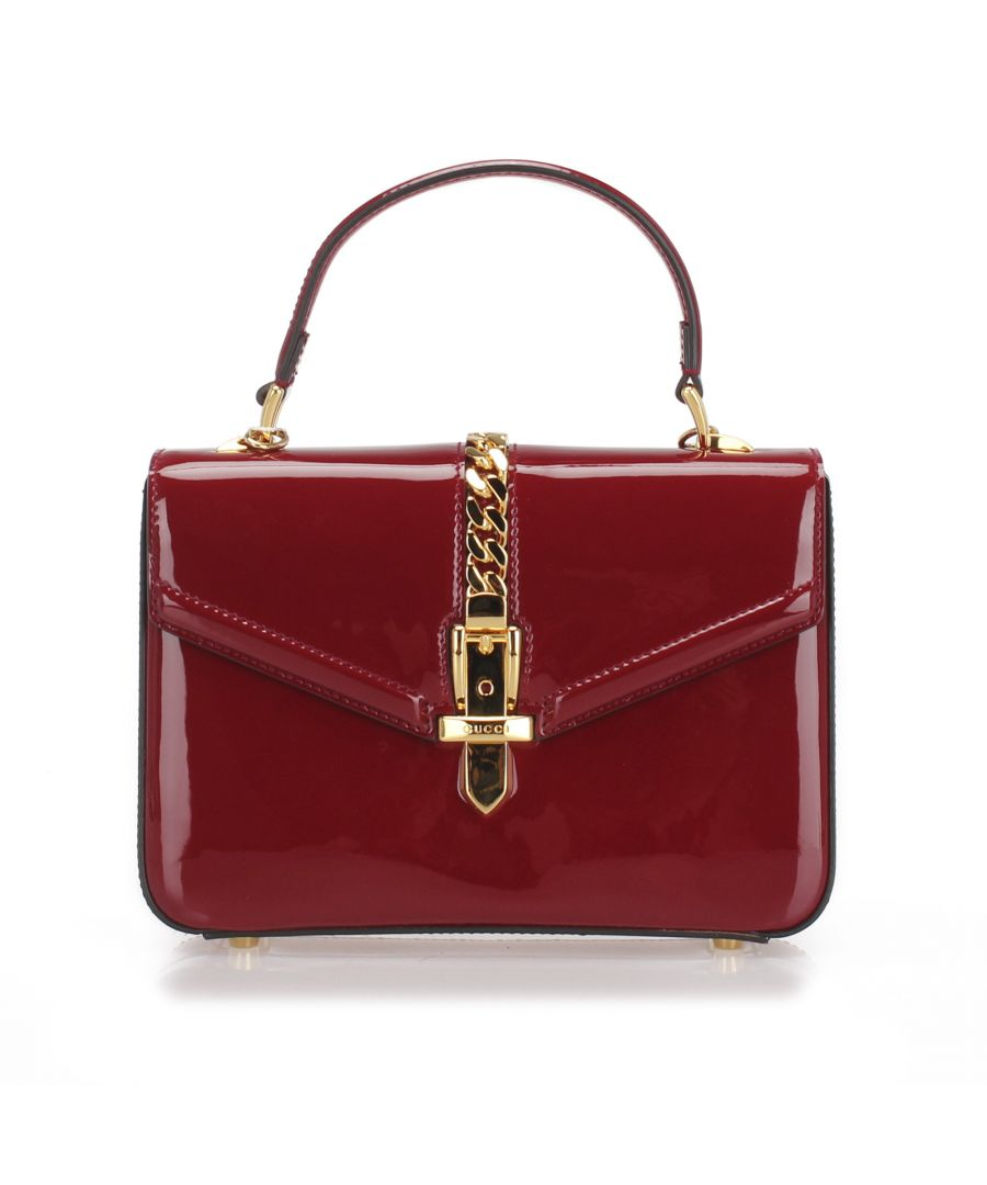 Image for Vintage Gucci Sylvie 1969 Patent Leather Satchel Red