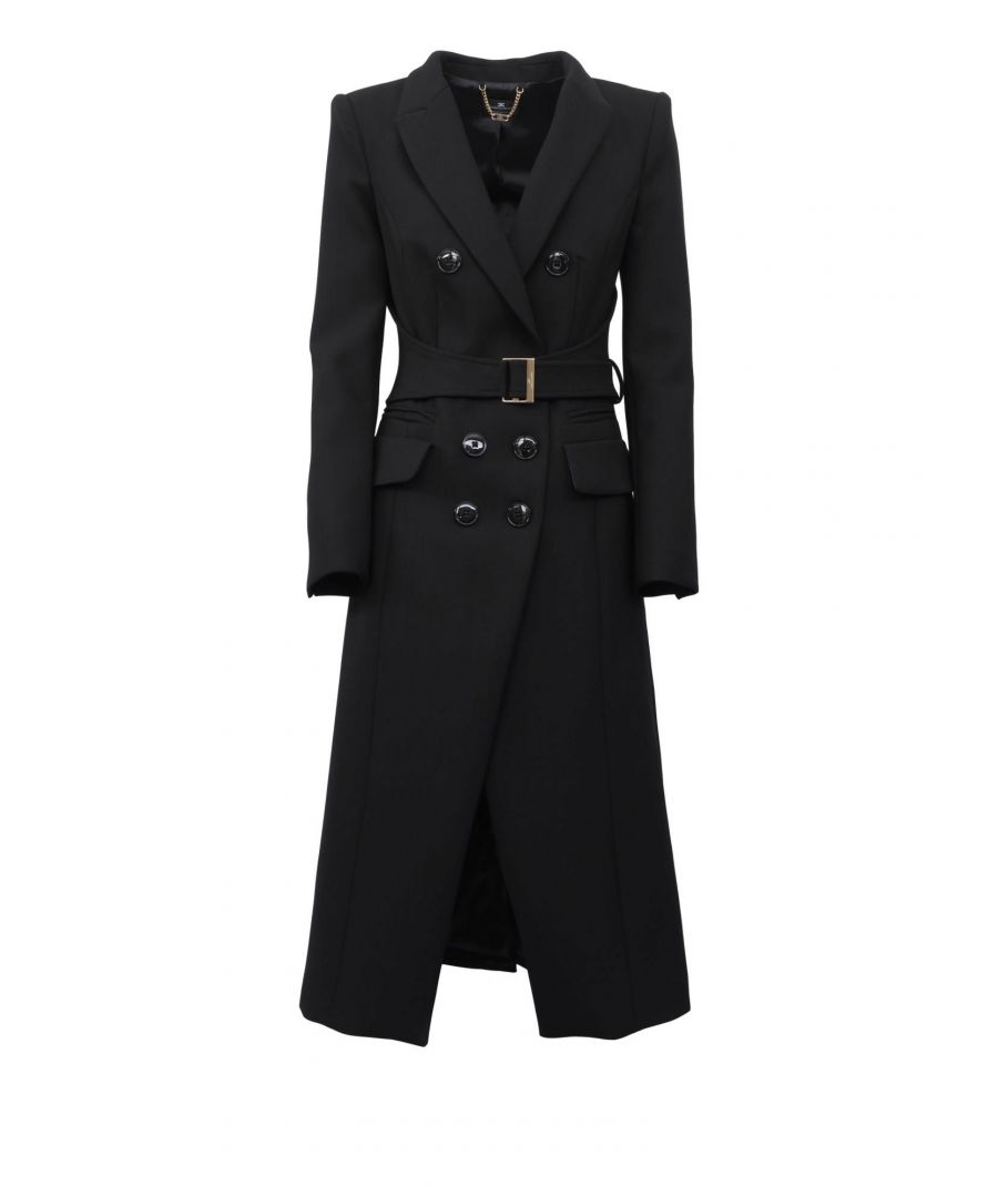 Image for ELISABETTA FRANCHI WOMEN'S CP02396E2110 BLACK POLYESTER COAT