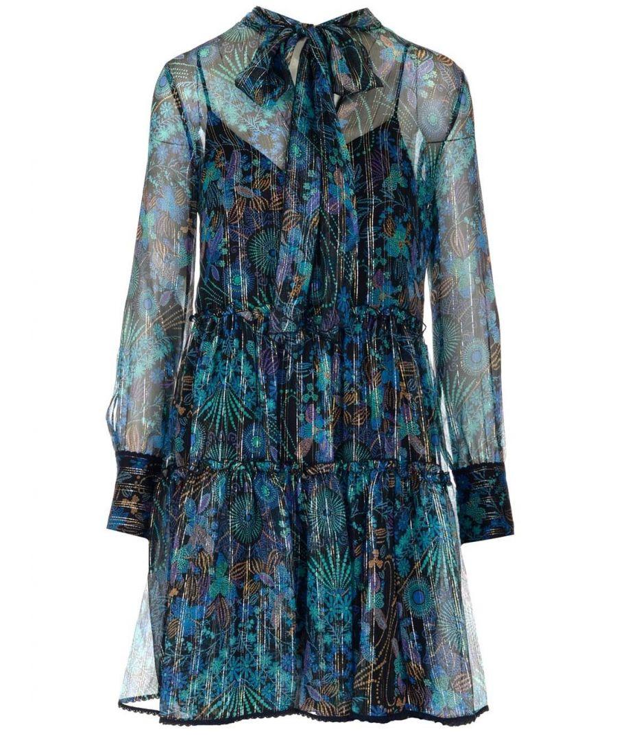 Image for SEE BY CHLOÉ WOMEN'S CHS20SRO020200YA BLUE SILK DRESS