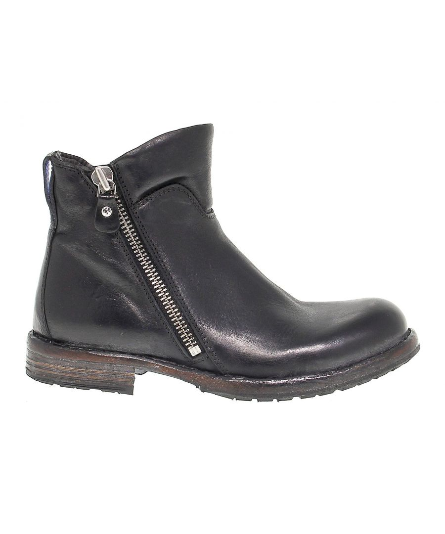 Image for MOMA WOMEN'S 79806 BLACK LEATHER ANKLE BOOTS