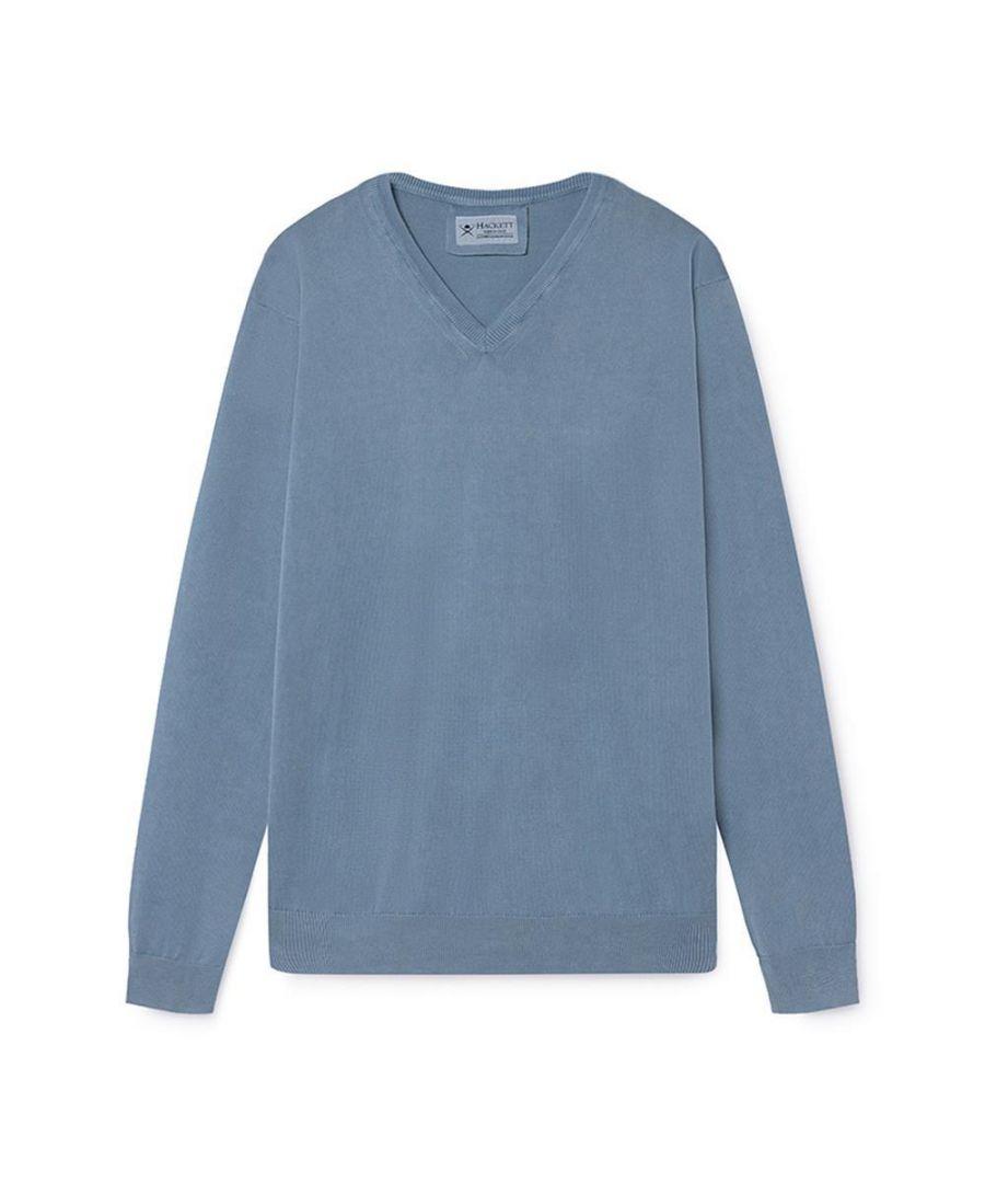 Image for Men's Hackett,  FN GG Garment Dyed V Neck Sweater in Sage