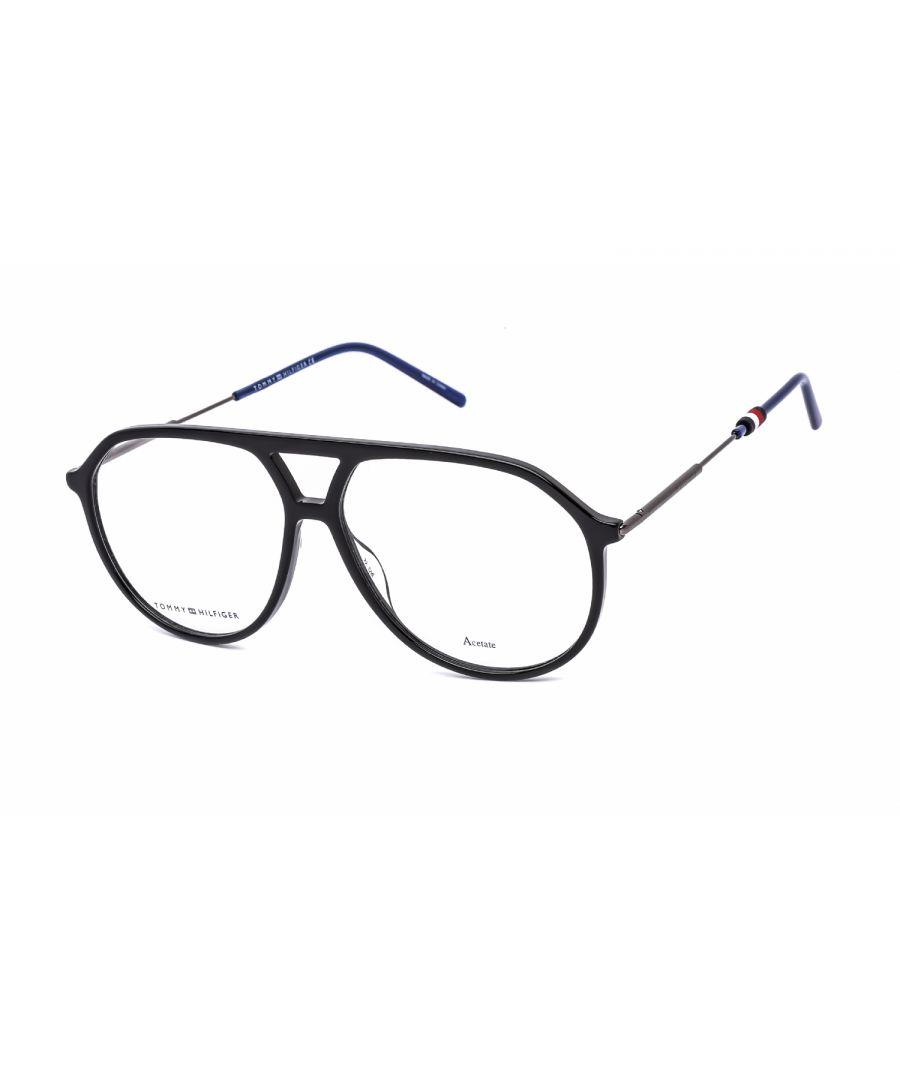 Image for Tommy Hilfiger Avaitor Plastic Men Eyeglasses Black / Clear Lens