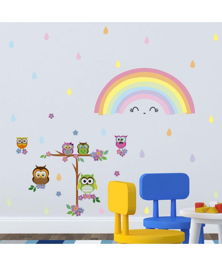 Image for Wall Art - Colourful Rainbow Owl Tree
