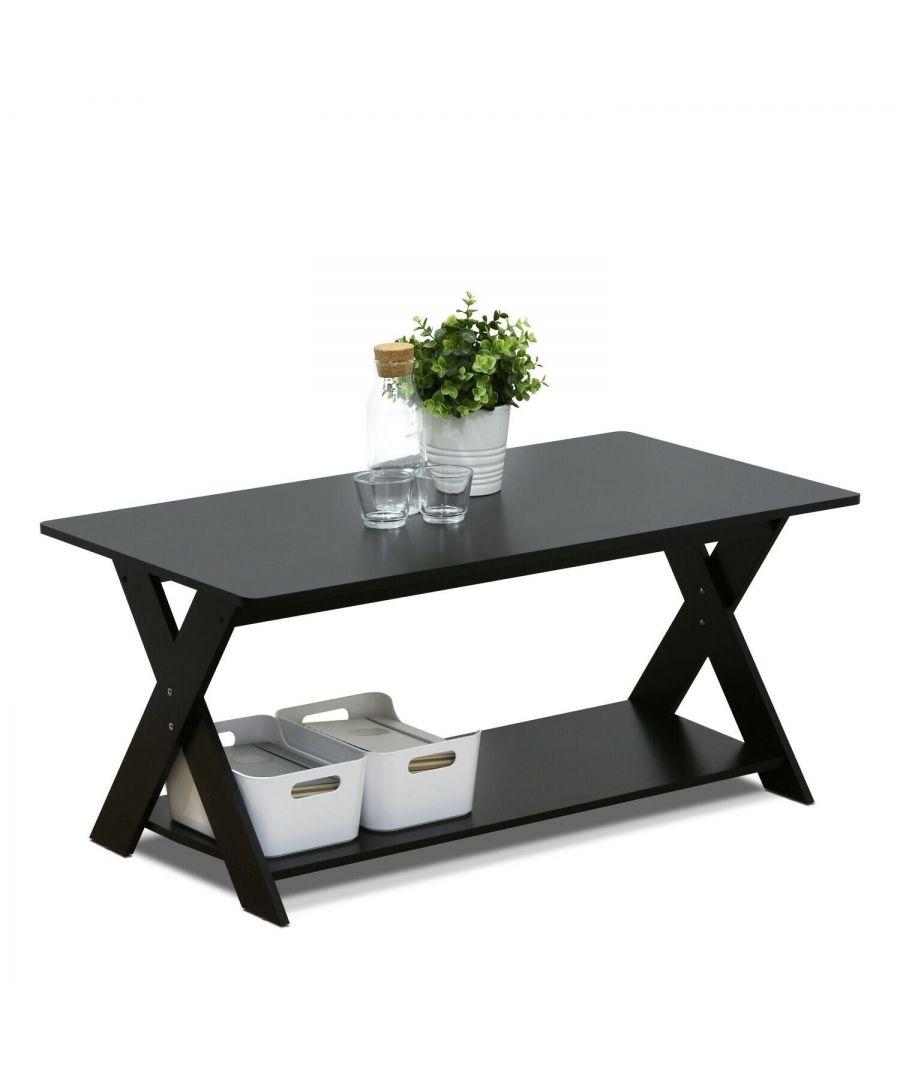 Image for Furinno Modern Simplistic Criss-Crossed Coffee Table - Espresso