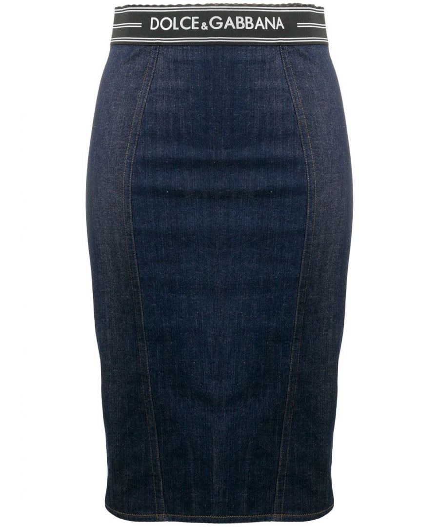 Image for DOLCE E GABBANA WOMEN'S F4AJNDG899TB3681 BLUE COTTON SKIRT