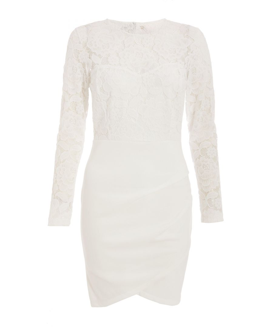 Image for Cream Lace Ruched Midi Dress