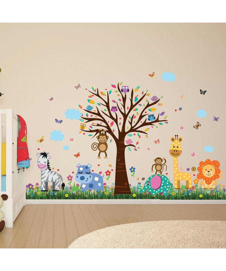 Image for Wall Art - Happy London Zoo + Colourful Butterflies Grass