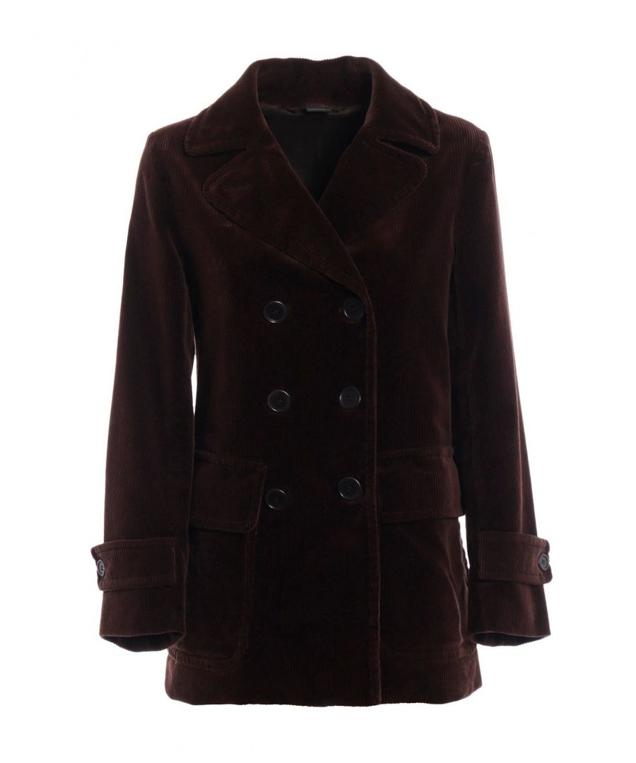 Image for ASPESI WOMEN'S 1212287101220 BROWN COTTON COAT
