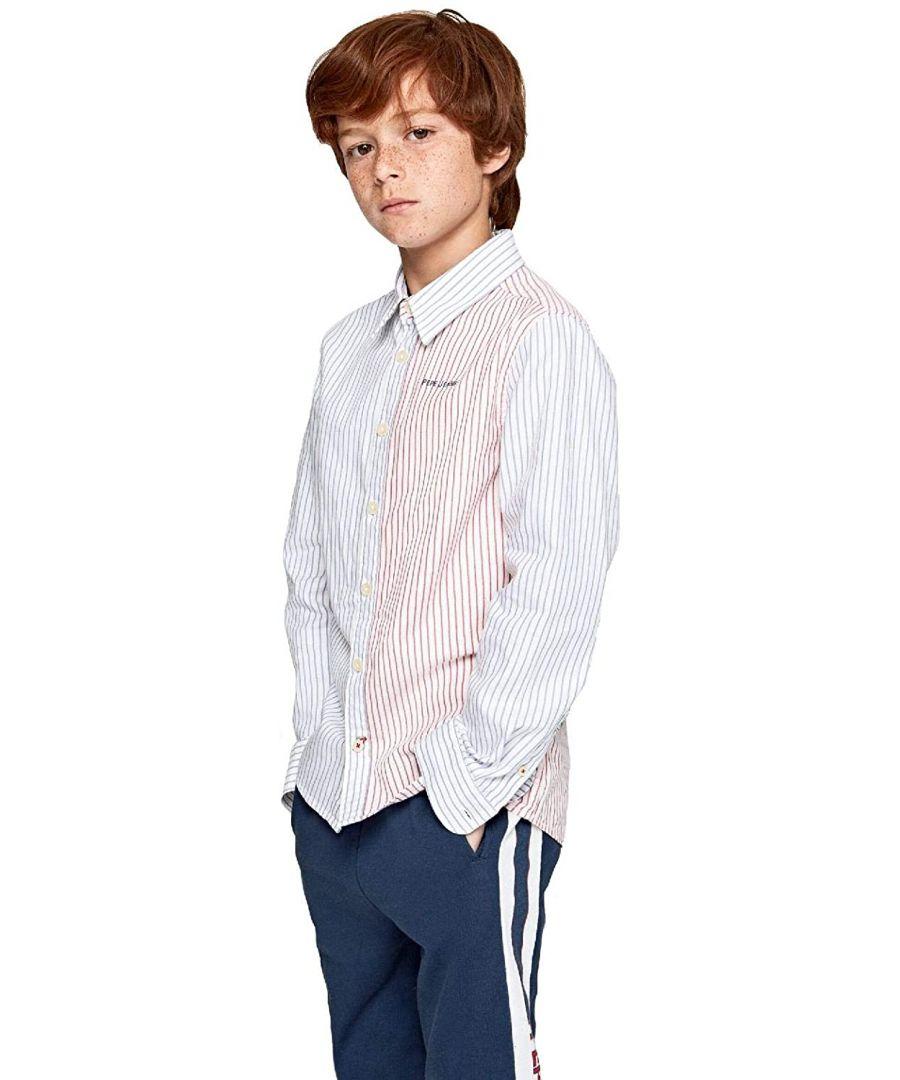 Image for Pepe Jeans Boys Finn Stripe Shirt in Blue/Red