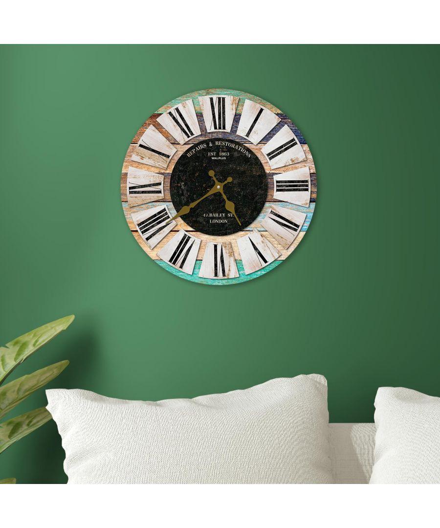 Image for Walplus 30cm Multicoloured Wooden Rustic Wall Clock clock living room, wall clock large, wall clock modern