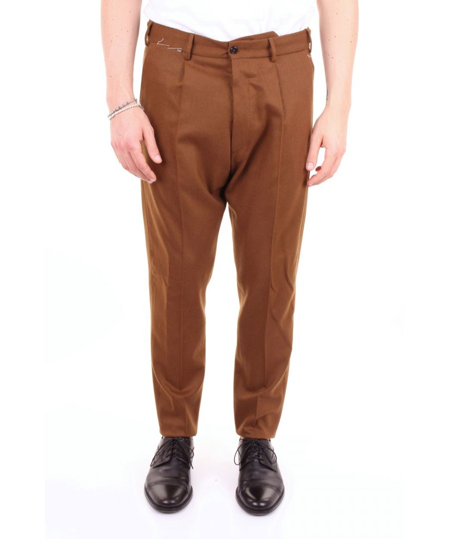 Image for PT01 MEN'S C051AF0NB00GHDBROWN BROWN WOOL PANTS