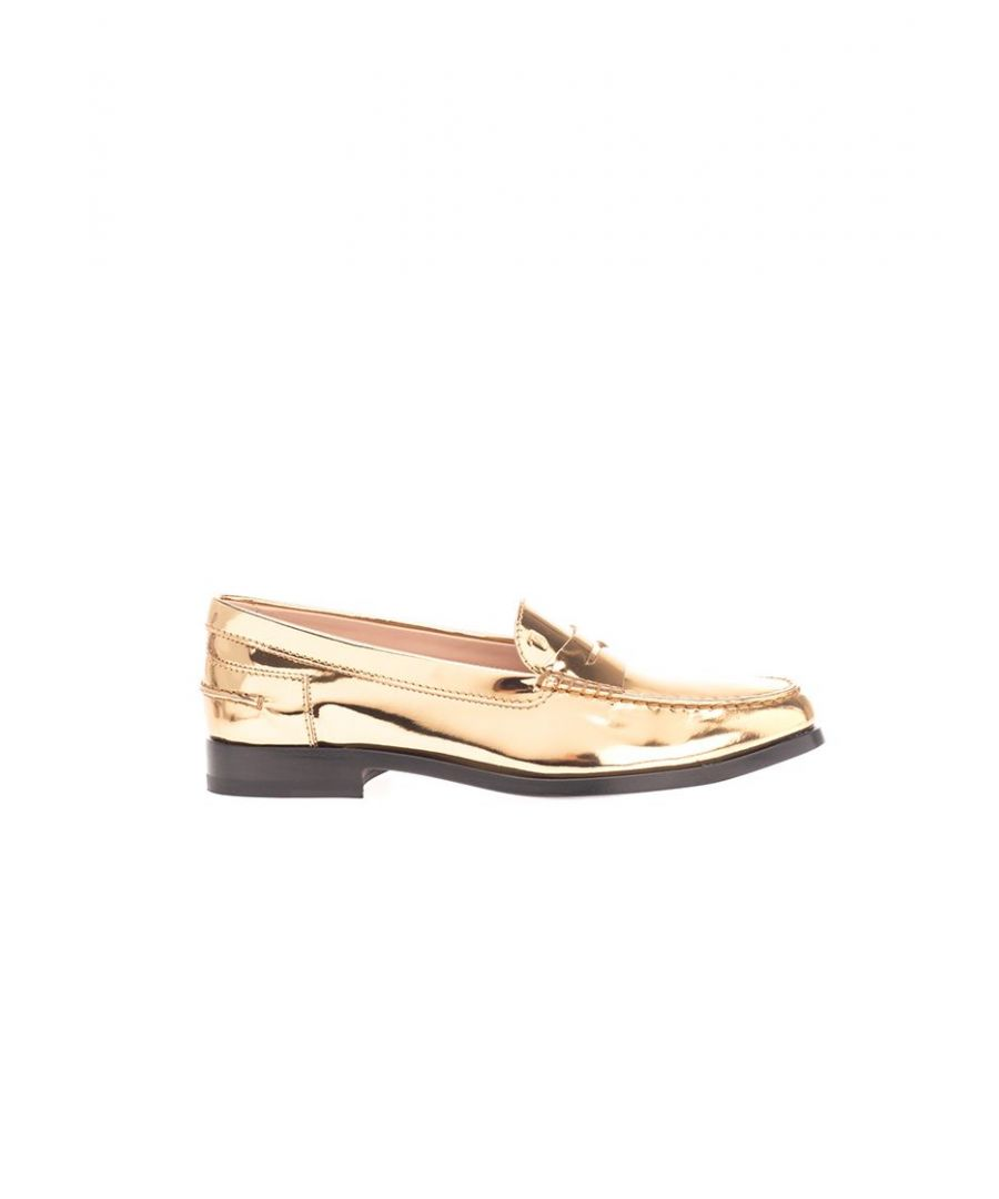 Image for TOD'S WOMEN'S XXW16C00011PL8G204 GOLD LEATHER LOAFERS