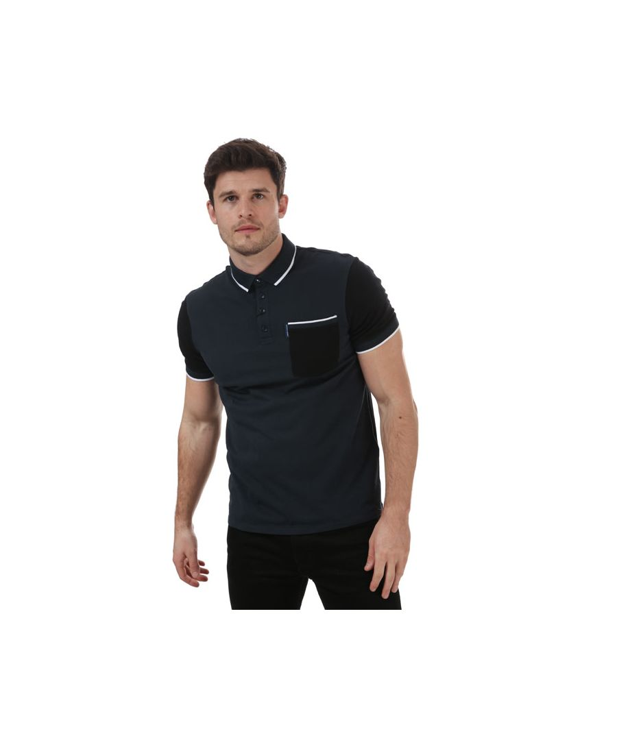 Image for Men's Armani Tipped Polo Shirt in Navy