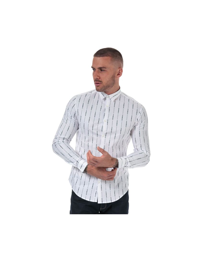 Image for Men's Armani Allover Logo Stretch Cotton Shirt in White