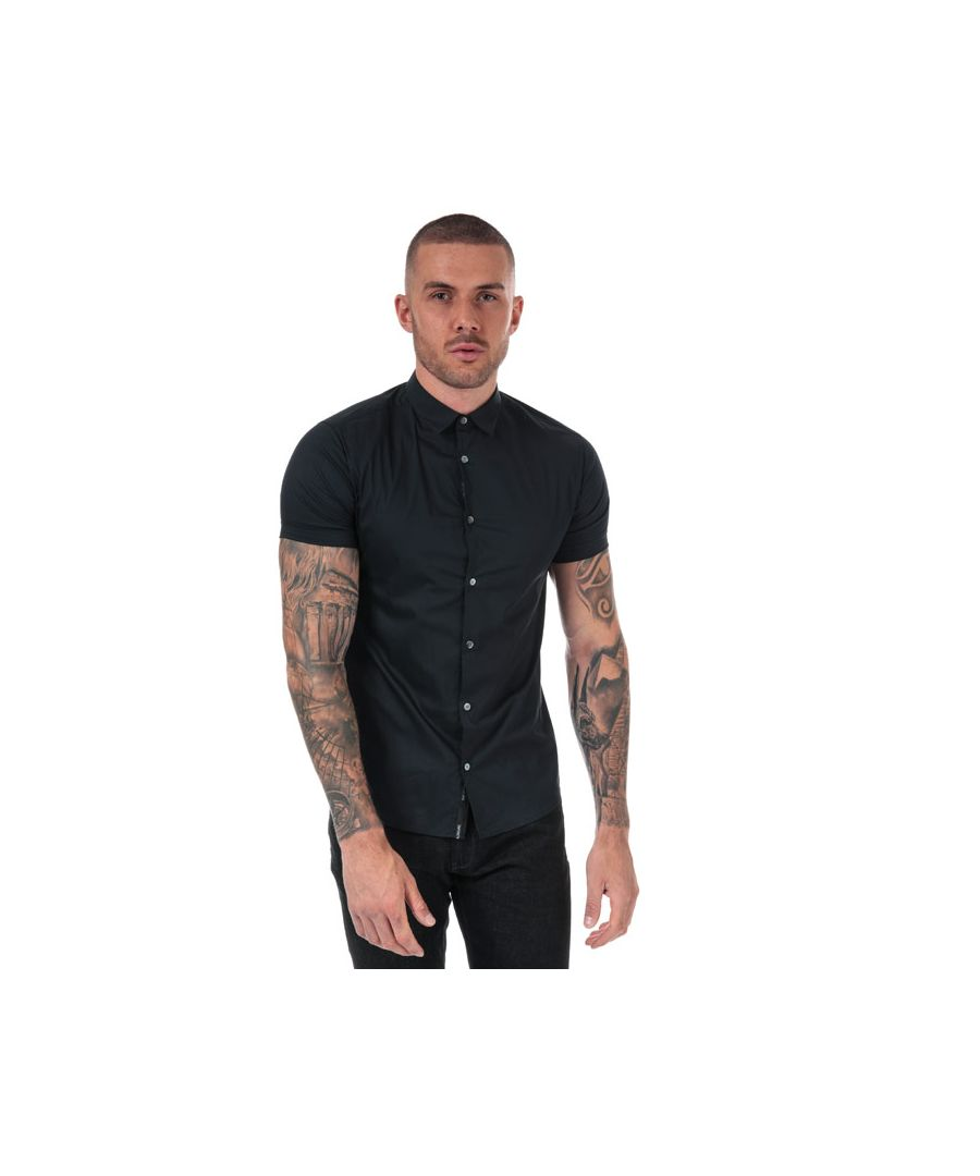 Image for Men's Armani Short Sleeve Shirt in Navy