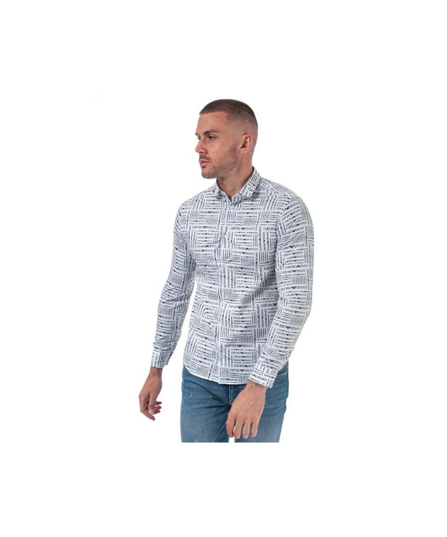 Image for Men's Armani Allover Logo Poplin Shirt in White
