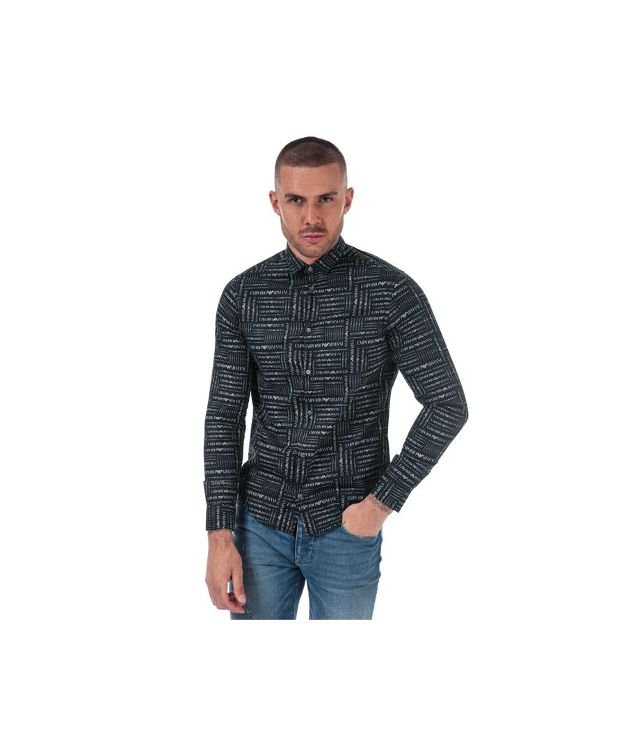 Image for Men's Armani Allover Logo Poplin Shirt in Navy
