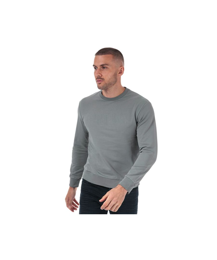 Image for Men's Armani Embossed Logo Crew Sweatshirt in Grey