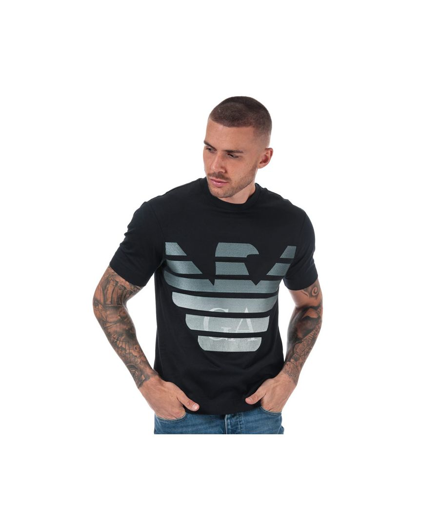 Image for Men's Armani Embroidered Eagle T-Shirt in Navy