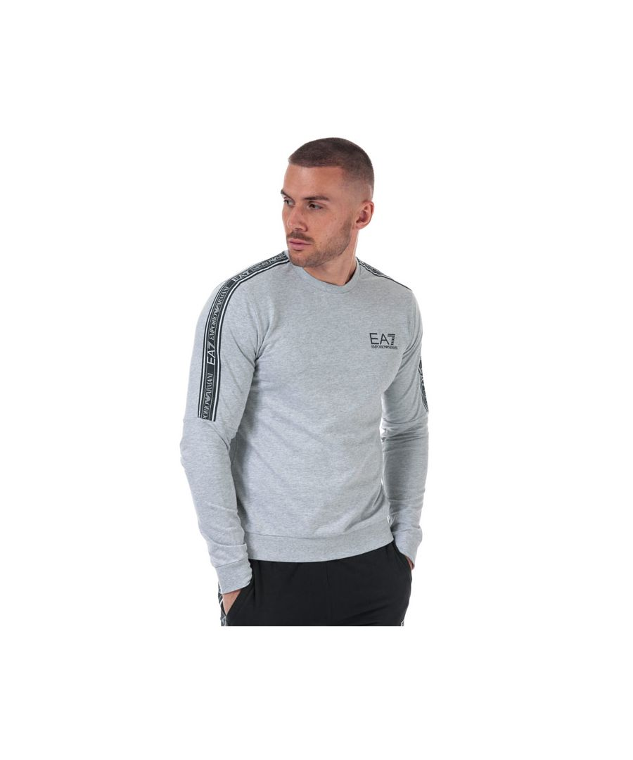 Image for Men's Emporio Armani EA7 Logo Tape Crew Sweatshirt in Grey