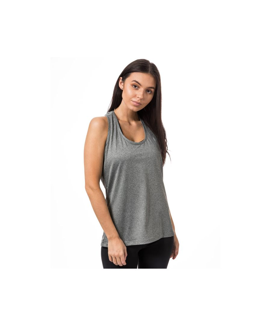 Image for Women's Tokyo Laundry Elleena Strappy Racer Back Sports Vest Top in Grey Marl