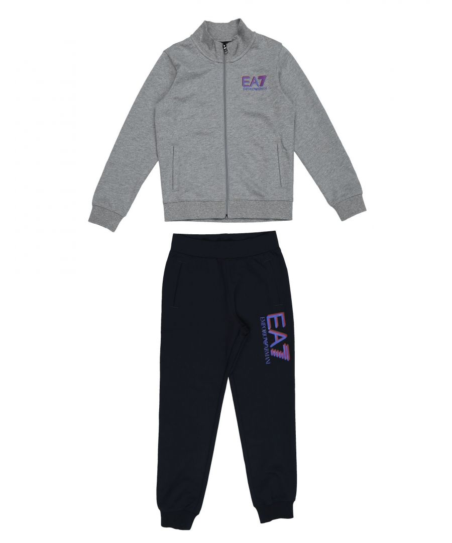Image for EA7 Grey Cotton Sweatshirt And Joggers Set