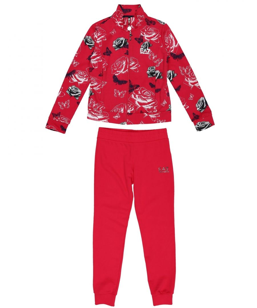 Image for EA7 Red Print Cotton Sweatshirt And Jogger Set
