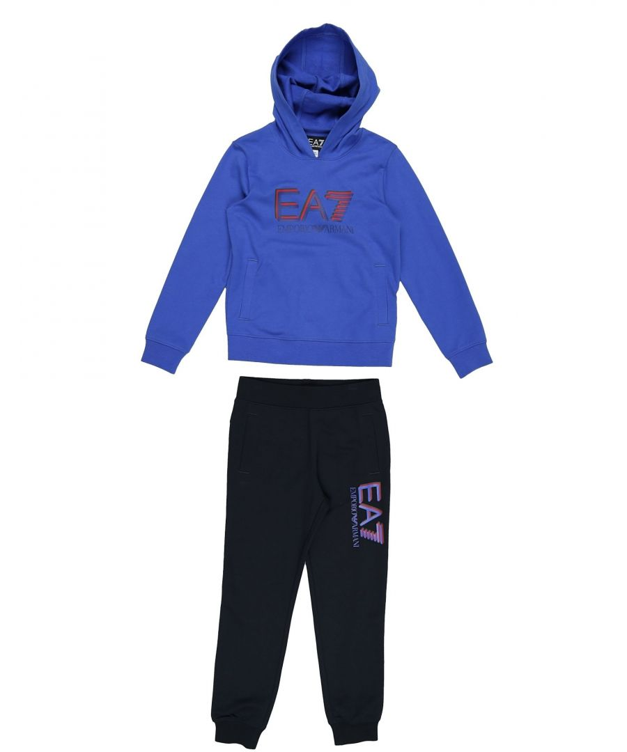 Image for EA7 Blue Cotton Hoodie And Joggers Set