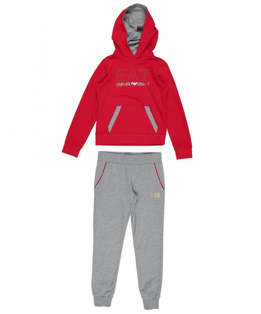 Image for EA7 Red Cotton Hoodie And Jogger Set