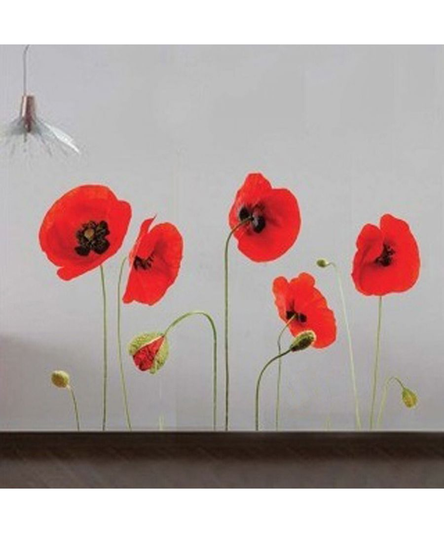 Image for Red Poppy Flowers Wall Sticker Self-adhesive DIY Wall Decorations.