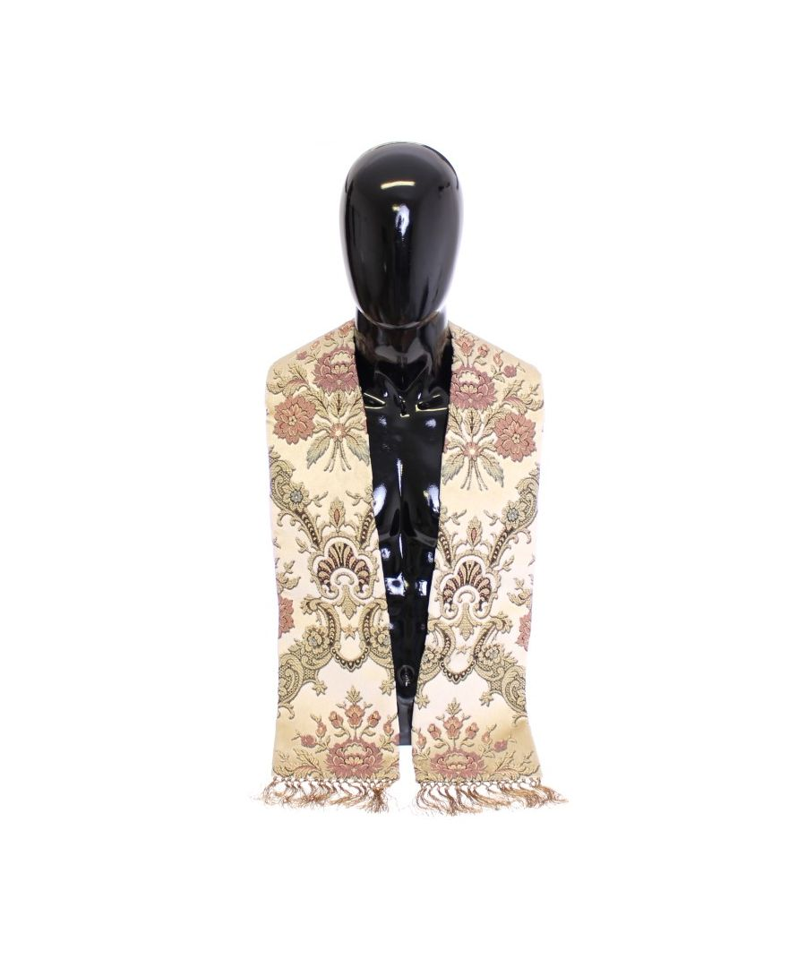 Image for Dolce & Gabbana Scarf Men's Beige Silk Necktie Baroque Pattern