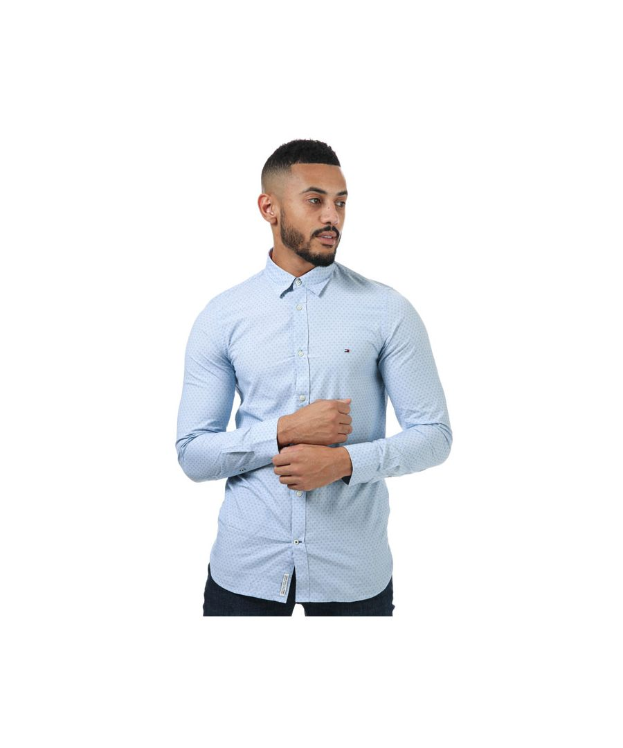 Image for Men's Tommy Hilfiger Micro Square Slim Fit Shirt in Blue