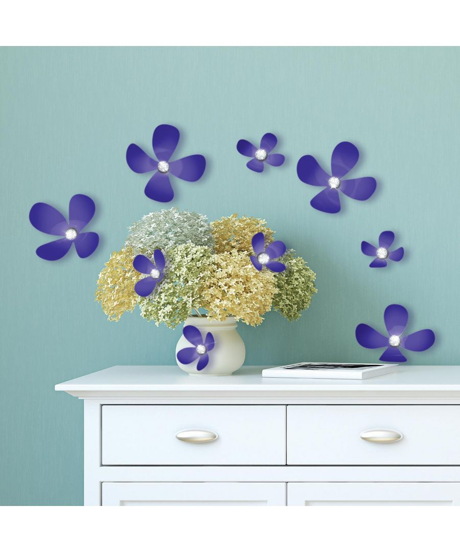 Image for Crystal 3D Flowers - Iris Self Adhesive DIY Wall Sticker, bedroom wall sticker