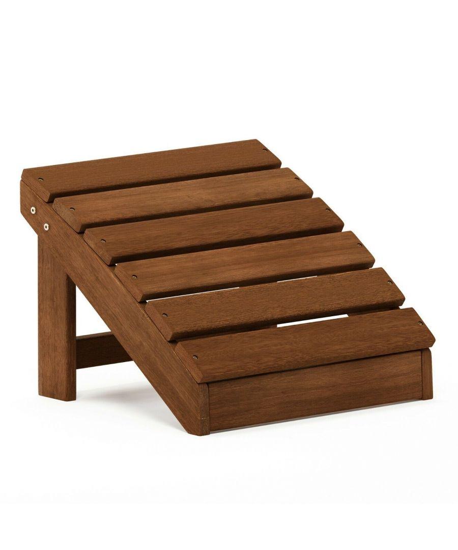 Image for Furinno Tioman Small Hardwood Adirondack Footstool in Teak Oil, Natural