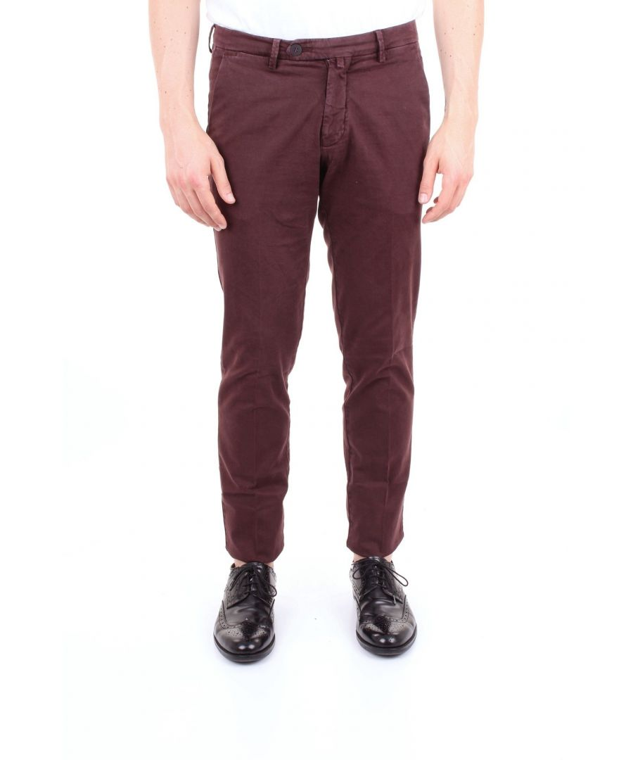 Image for MICHAEL COAL MEN'S RICKY2505LBORDEAUX BURGUNDY COTTON PANTS