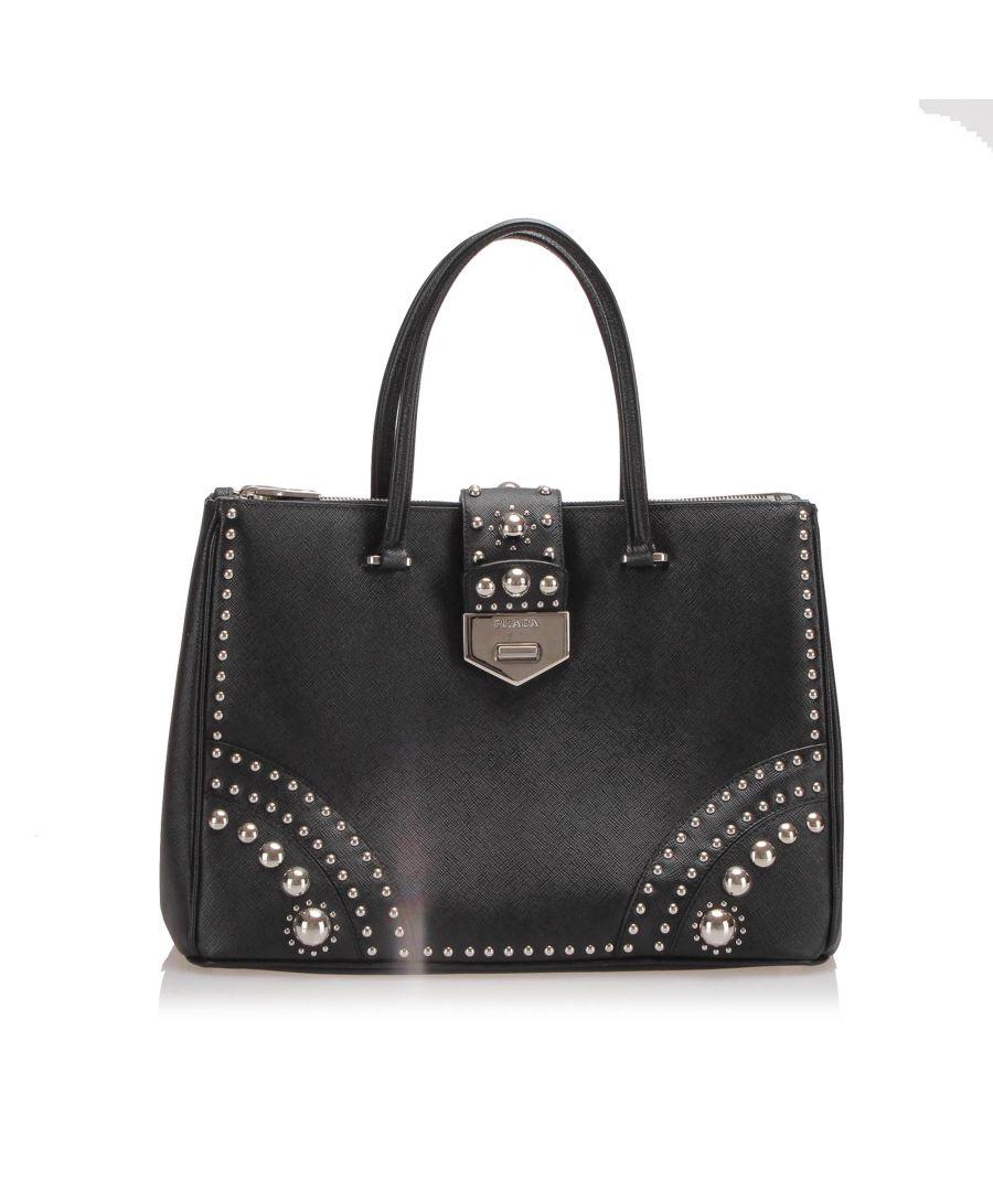 Image for Vintage Prada Studded Saffiano Double Zip Tote Bag Black