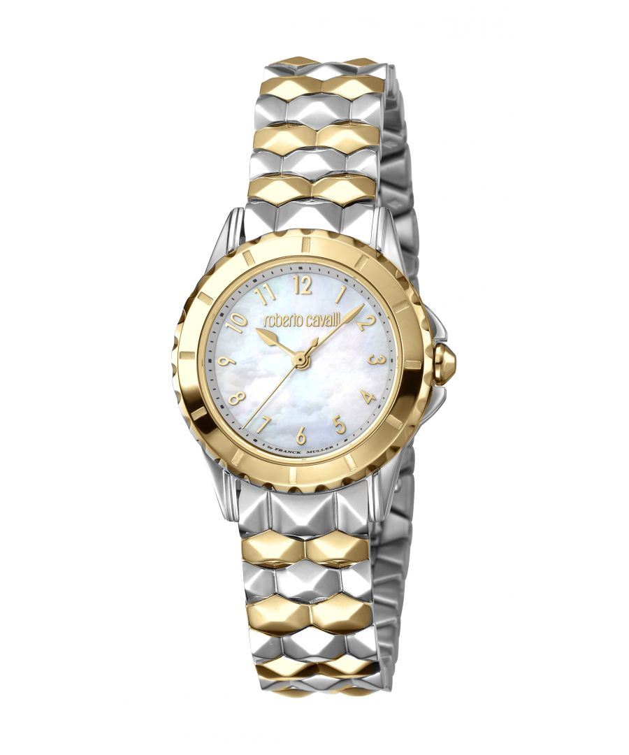 Image for Roberto Cavalli Womens White Mother of Pearl Dial Stainless Steel and Gold Plated Watch