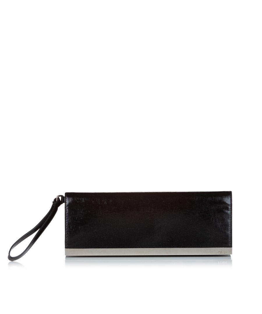 Image for Vintage Fendi Leather Clutch Bag Black