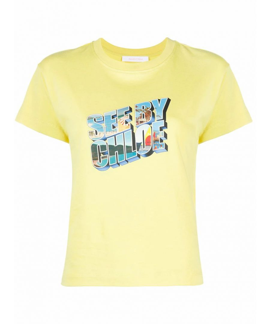 Image for SEE BY CHLOÉ WOMEN'S CHS20UJH1511135V YELLOW COTTON T-SHIRT