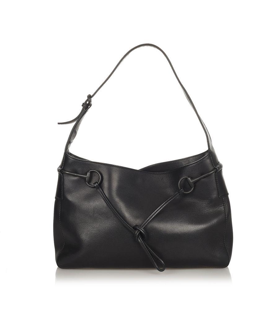 Image for Vintage Gucci Horsebit Leather Shoulder Bag Black