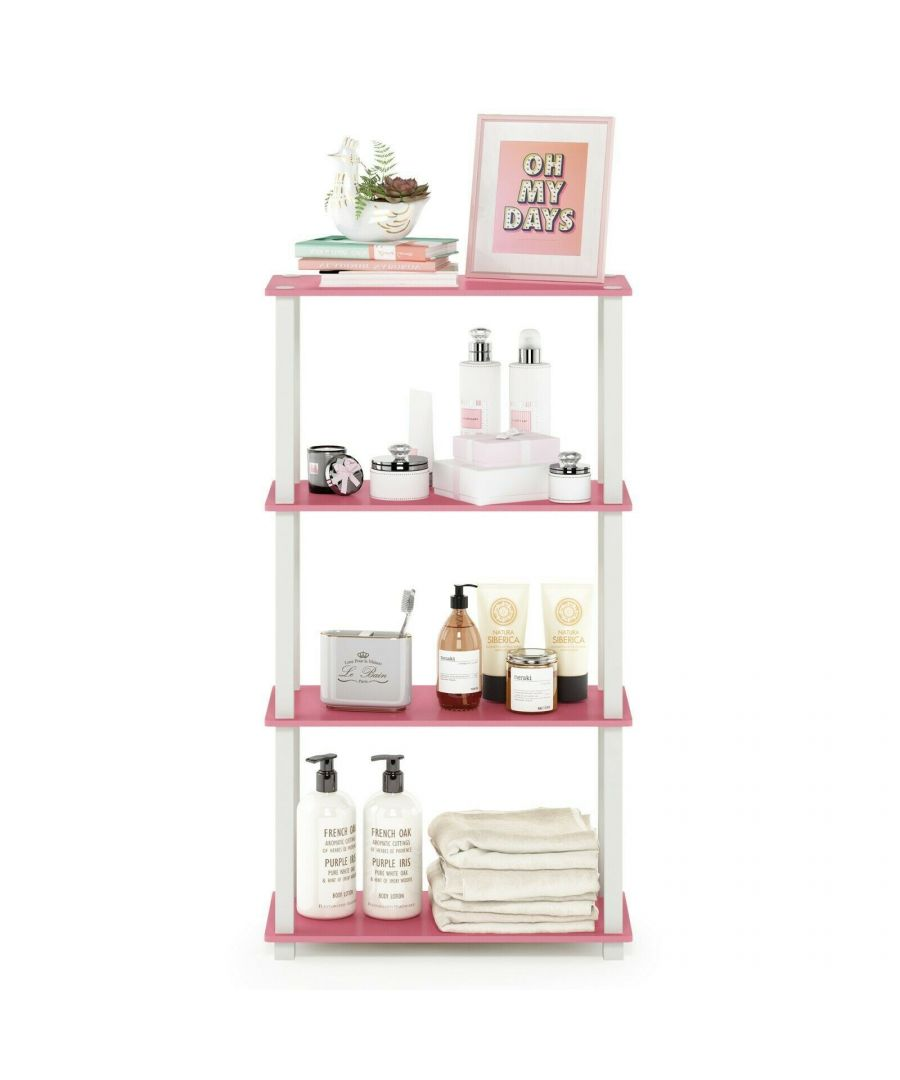 Image for Furinno Turn-S-Tube 4-Tier Multipurpose Shelf Display Rack with Square Tube, Pink/White