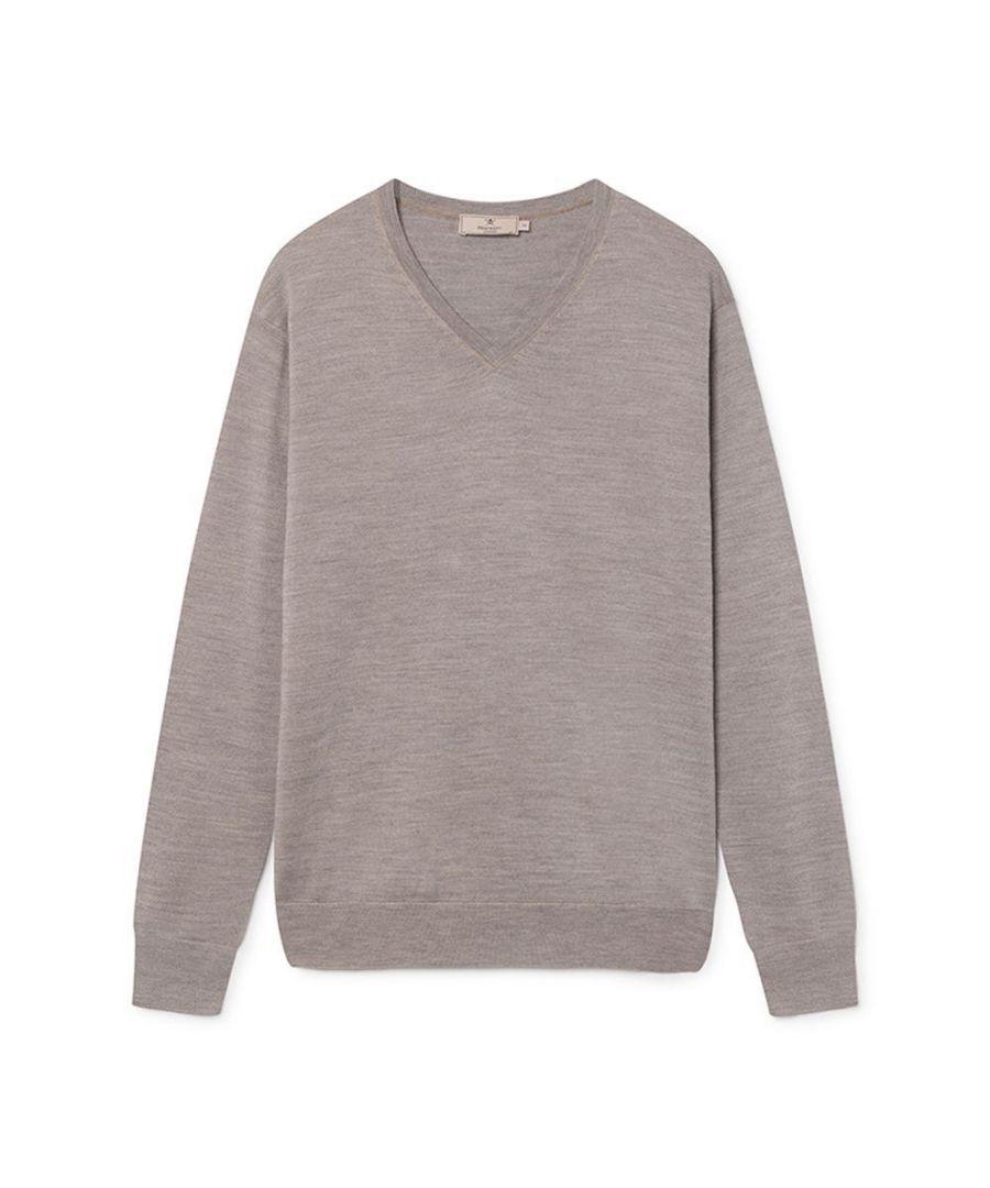 Image for Men's Hackett, Mayfair Jacquard V Neck Sweater in Sand