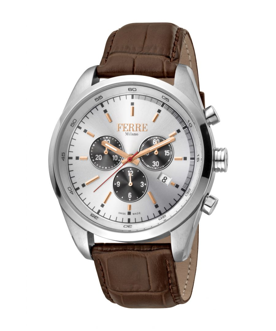 Image for Ferre Milano Mens Silver Dial Brown Leather Watch