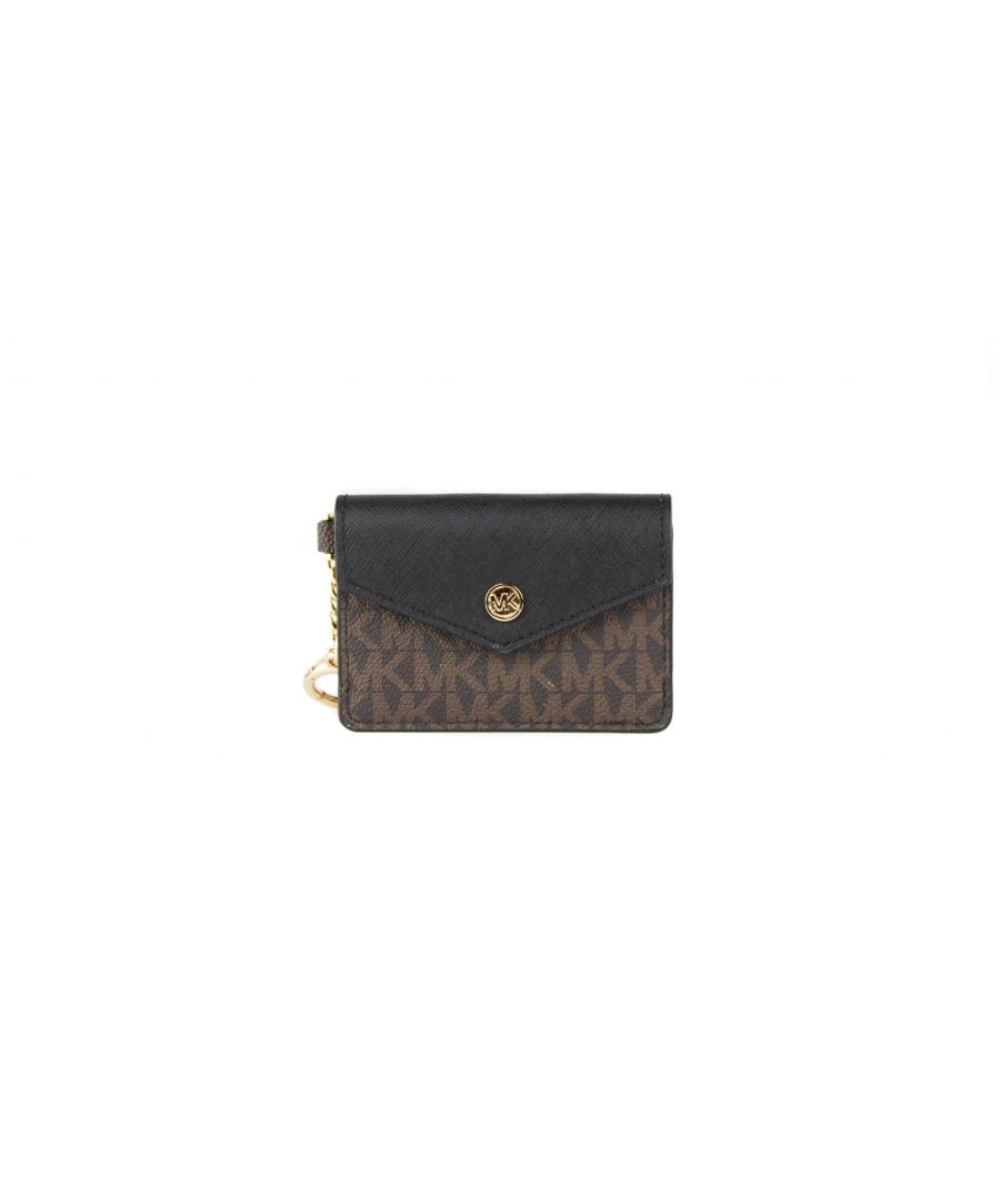 Image for Michael Kors Kala Small Signature Leather Flap Key Ring Card Case (Brown/Black)