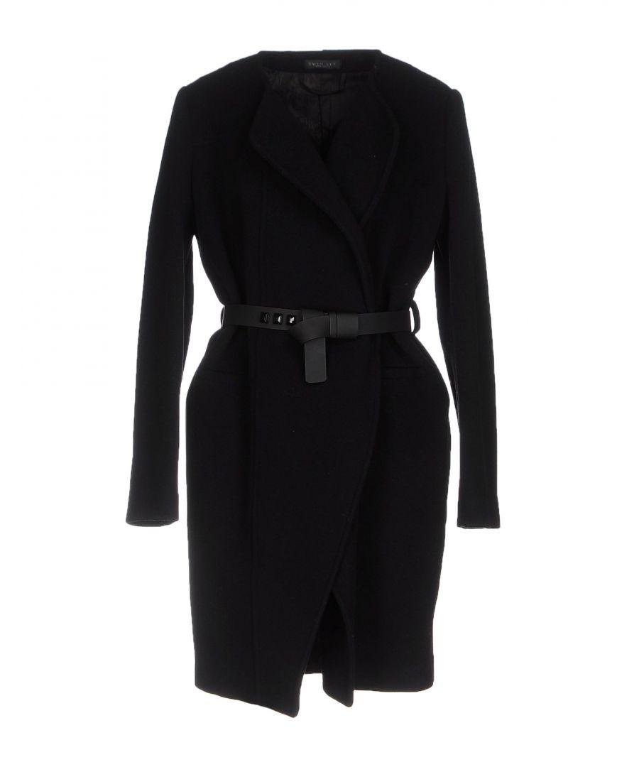 Image for Twinset Black Virgin Wool Belted Coat