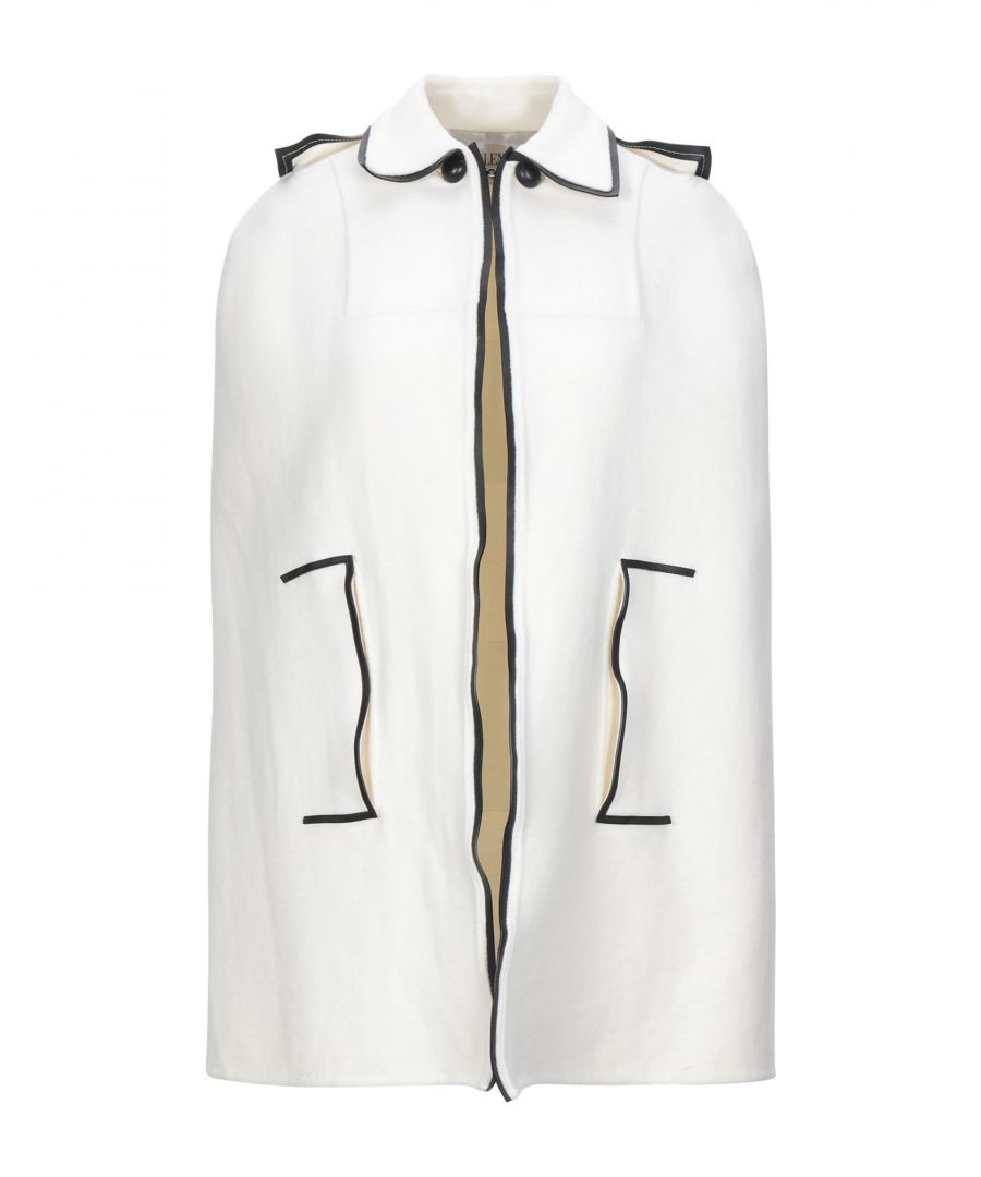 Image for Valentino White Contrast Virgin Wool Cape